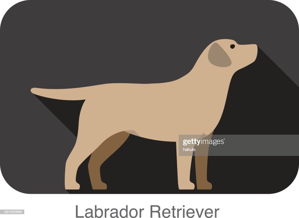 Labrador Retriever Dog Body Flat Icon Design High Res Vector