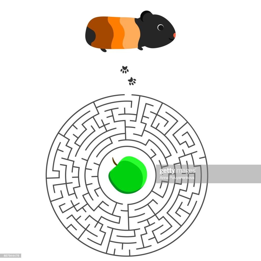labyrinth game for children with guinea pig and apple