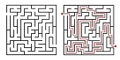 Labyrinth game way. Square maze, simple logic game with labyrinths way vector illustration