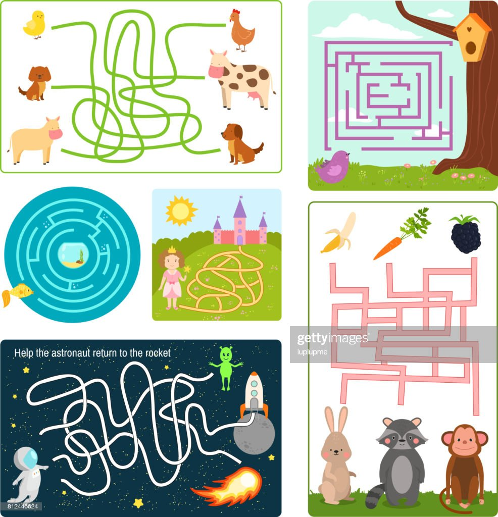 Labyrinth maze conundrum shape rebus logic game search mystery funny puzzle for children vector illustration
