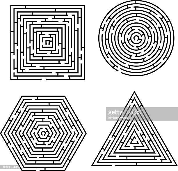 illustrazioni stock, clip art, cartoni animati e icone di tendenza di labirinto polygon - intrico