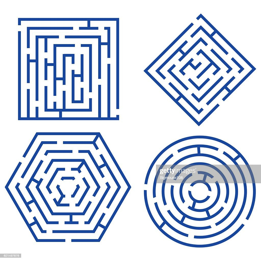 Labyrinth Set Different Shapes. Vector