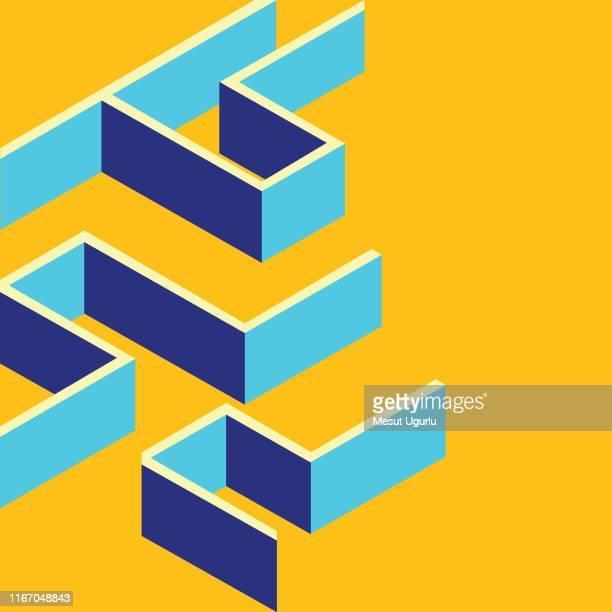 illustrazioni stock, clip art, cartoni animati e icone di tendenza di labyrinth, square maze icon. isometric template for web design in flat 3d style. - intrico