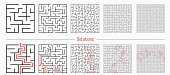 Labyrinth templates with solution in red.