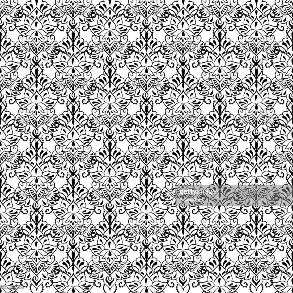 Lace elegant vintage pattern - black line art on a white background, hand drawn vector illustration