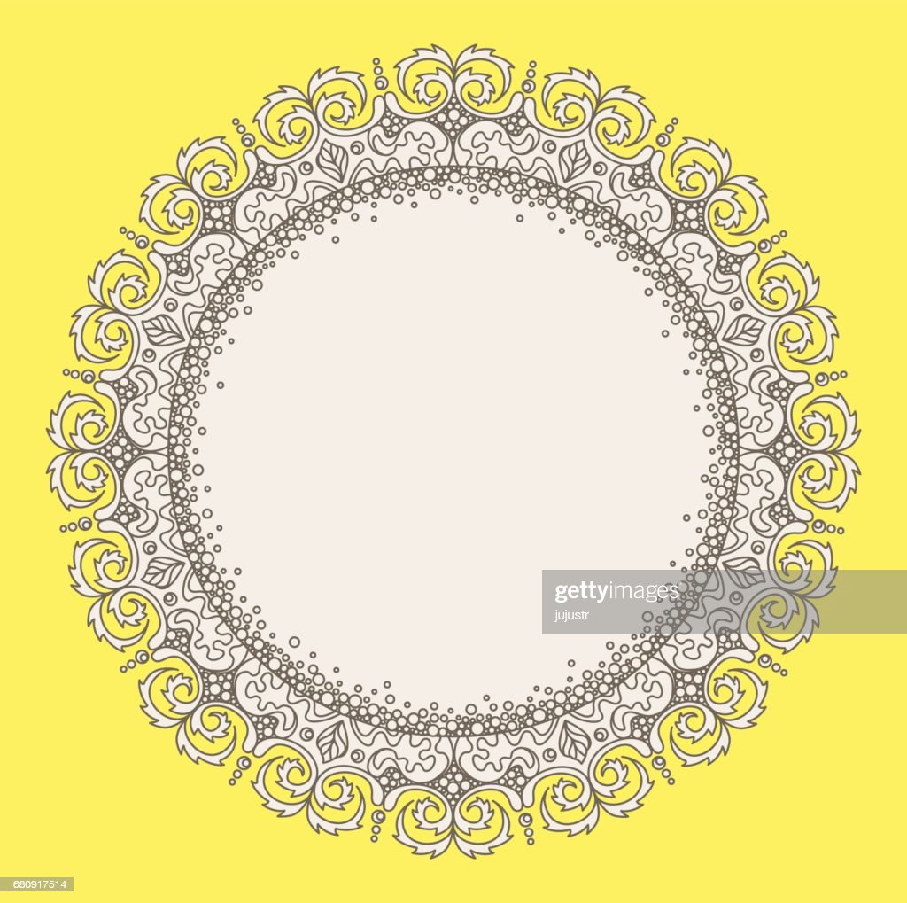 lace ornate circle frame empty space for text photo vector art