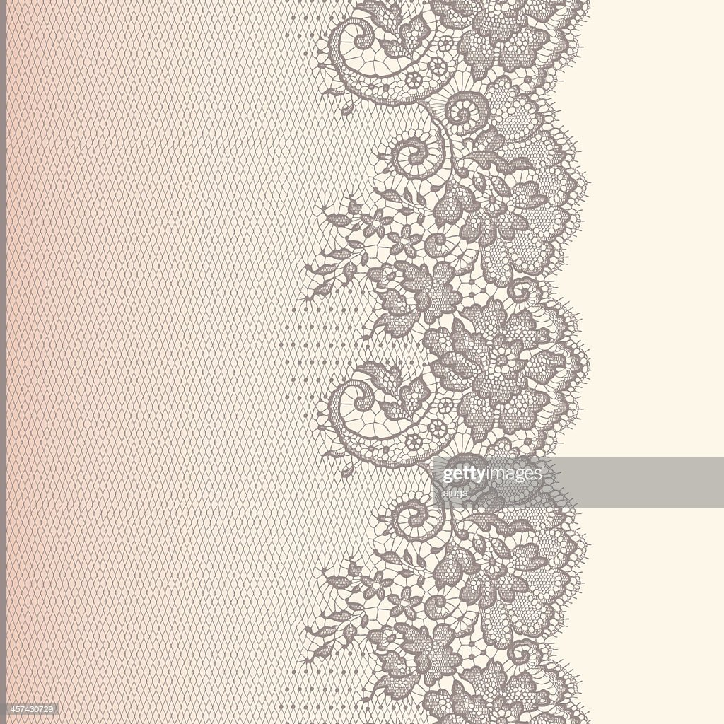Lace Ribbon. Vertical Seamless Pattern. Gradient Background.