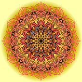 Lace vector pattern. Mandala of red-orange tones on a yellow-black gradient background.