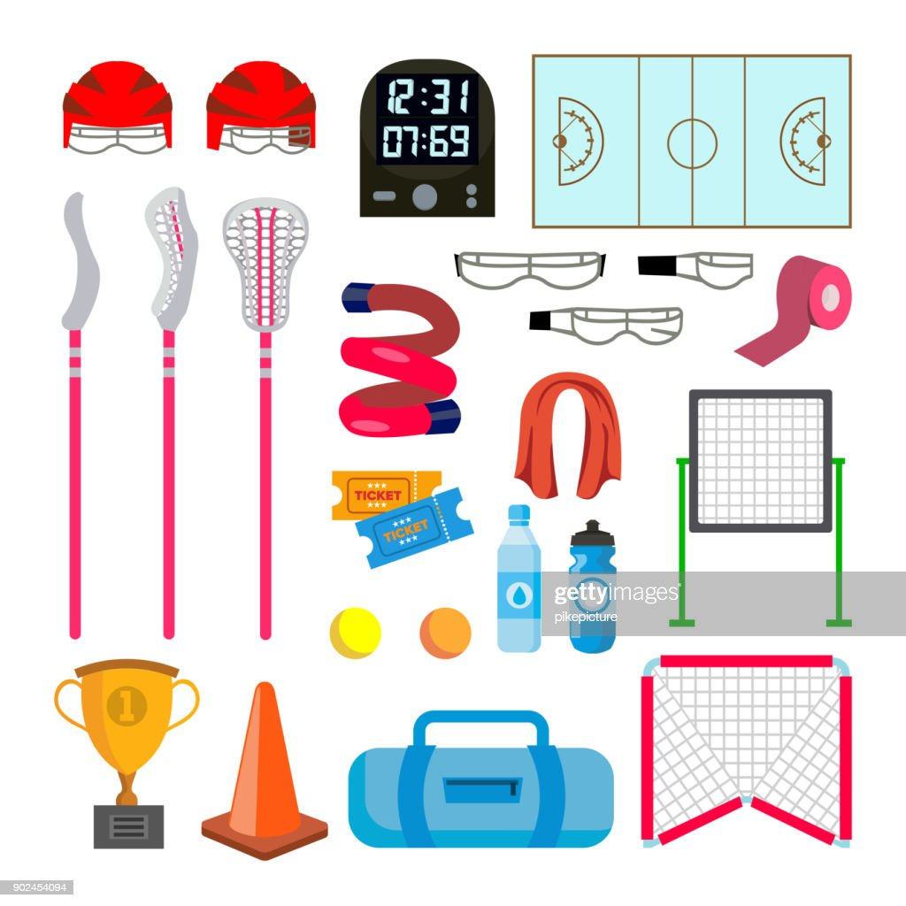Lacrosse Icons Set Vector. Lacrosse Accessories. Gates, Net, Glasses, Mask, Stick, Helmet, Box, Timer, Plotter, Ball. Isolated Flat Cartoon Illustration