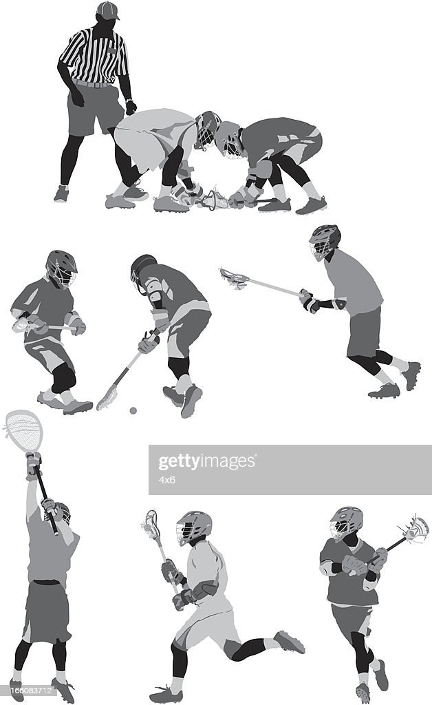 Lacrosse players in action : Vector Art