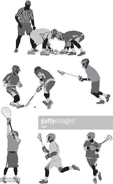 Lacrosse players in action