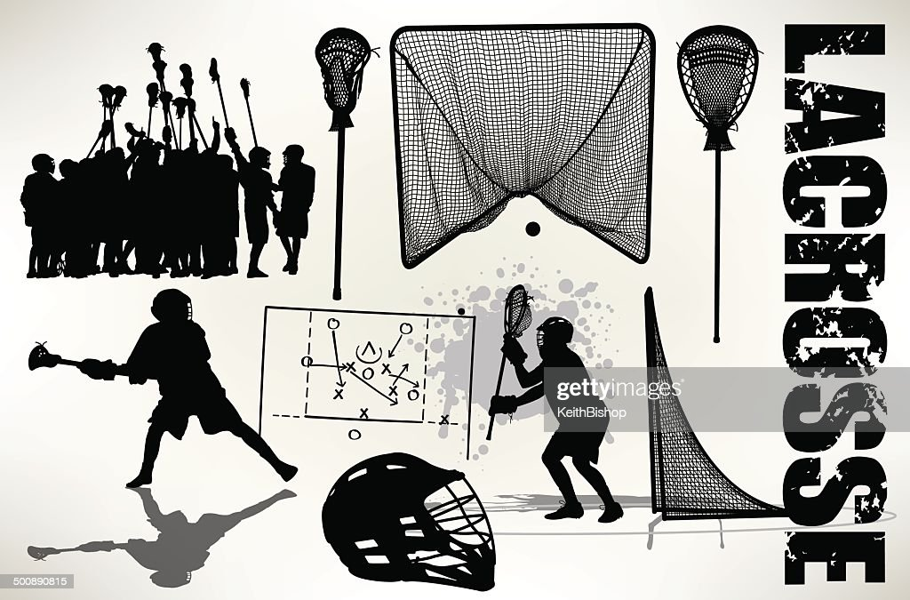Lacrosse Players - Sticks, Goal, Helmet, Team