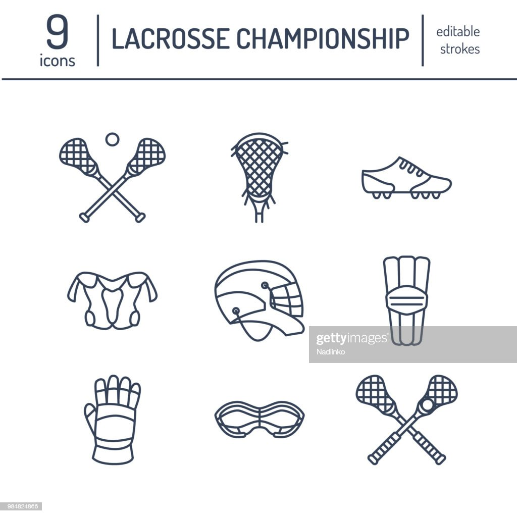 Lacrosse sport game vector line icons. Ball, stick, helmet, gloves, girls goggles. Linear signs set, championship pictograms with editable stroke for event, equipment store