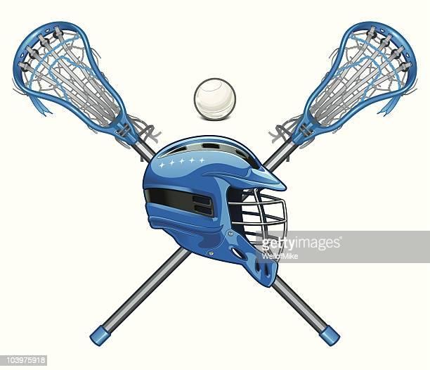 Lacrosse Sticks and Helmet