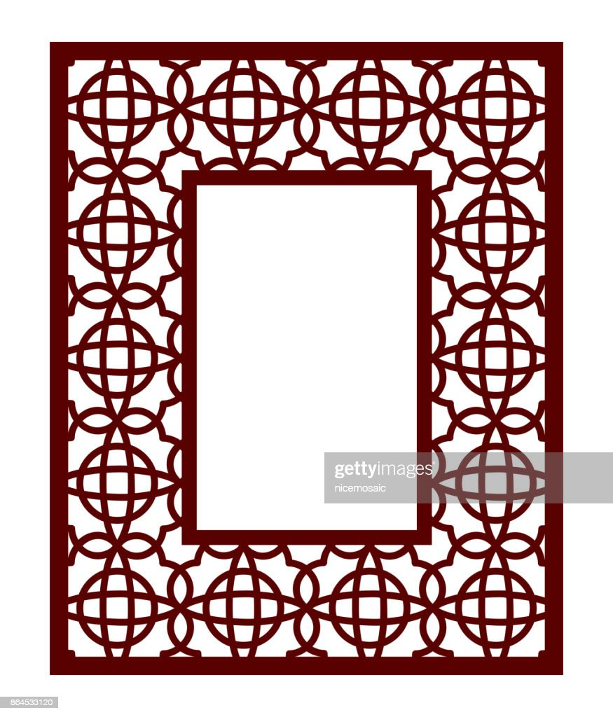 Lacy Frame With Carved Openwork Pattern Vector Stencil Template For ...