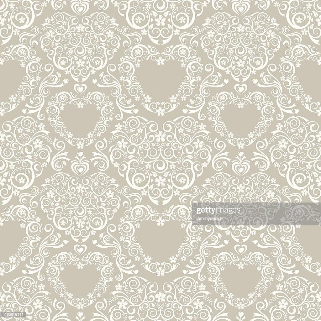 Lacy Hearts Seamless Pattern : stock illustration