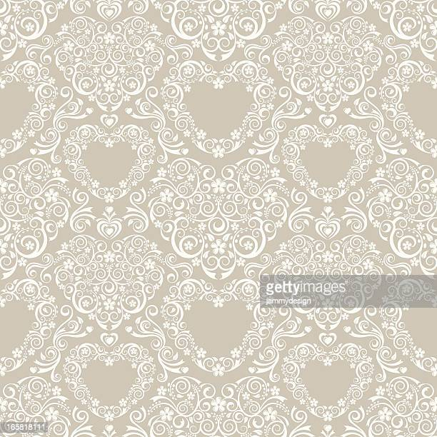 lacy hearts seamless pattern - victorian wallpaper stock illustrations