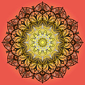 Lacy round pattern - vector. Mandala of yellow-black tones on orange-yellow vertical background gradient.
