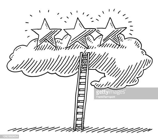 illustrations, cliparts, dessins animés et icônes de échelle de réussite nuage trois étoiles dessin - les marches de la gloire