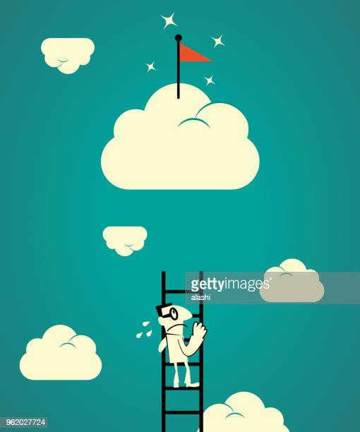 Ladder of success concept, confused businessman looking up, the ladder is too short to catch up the goal flag on cloud