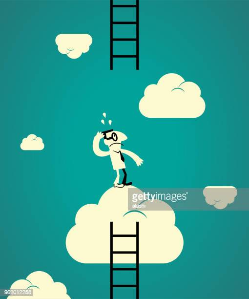 ladder of success concept, confused businessman looking up, the next ladder is too high to catch - next stock illustrations