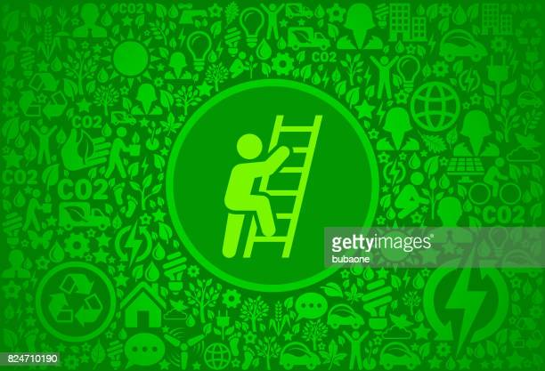 Ladder Of Success Environment Green Vector Icon Pattern