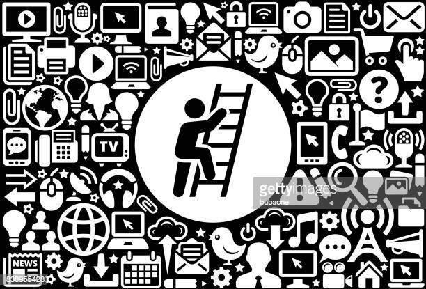 Ladder Of Success  Icon Black and White Internet Technology Background