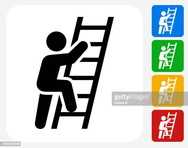 ladder of success icon flat graphic design - ladder stock illustrations, clip art, cartoons, & icons