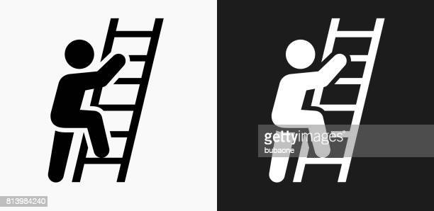 ladder of success icon on black and white vector backgrounds - ladder stock illustrations, clip art, cartoons, & icons