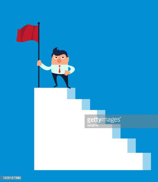 ladder of success - stepping stock illustrations, clip art, cartoons, & icons