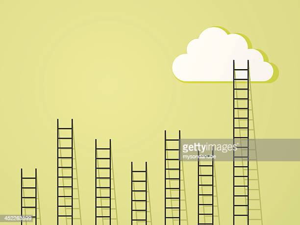 ladder to clouds success and power concept - ladder stock illustrations, clip art, cartoons, & icons