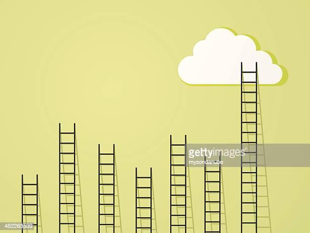 stockillustraties, clipart, cartoons en iconen met ladder to clouds success and power concept - trappen