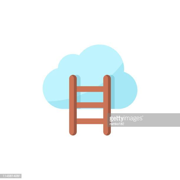 ladder with clouds flat icon. pixel perfect. for mobile and web. - ladder of success stock illustrations