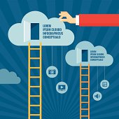 Ladders to Clouds - illustration in flat style design