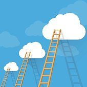 Ladders to success vector concept
