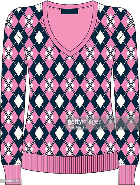 ladies argyle fashion sweater - sweater stock illustrations, clip art, cartoons, & icons