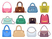Ladies bags. Womens handbags with fashion accessories. Leather female clutch and purse vintage vector flat set
