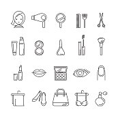 Ladies fashion, cosmetics and  beauty linear icons set