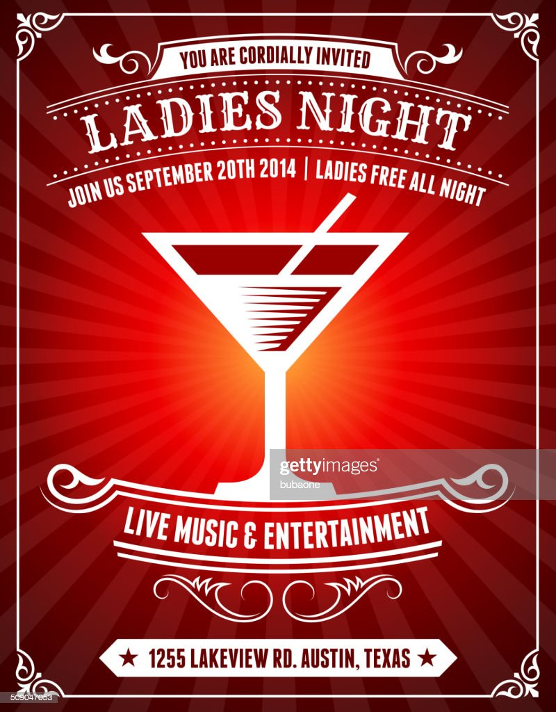 Ladies Night Poster on Red Background : Vector Art