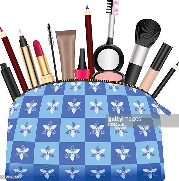 ladies purse with cosmetics - lip liner stock illustrations, clip art, cartoons, & icons