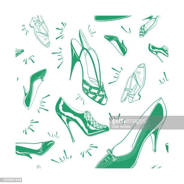 ilustraciones, imágenes clip art, dibujos animados e iconos de stock de zapatos para señora patrón - tacones altos