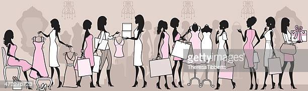 ladies shopping - boutique stock illustrations, clip art, cartoons, & icons