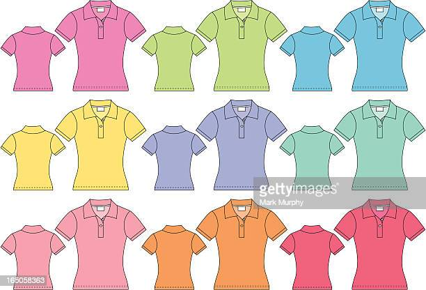 Ladies Short Sleeved Polo Pique Shirt Front & Back