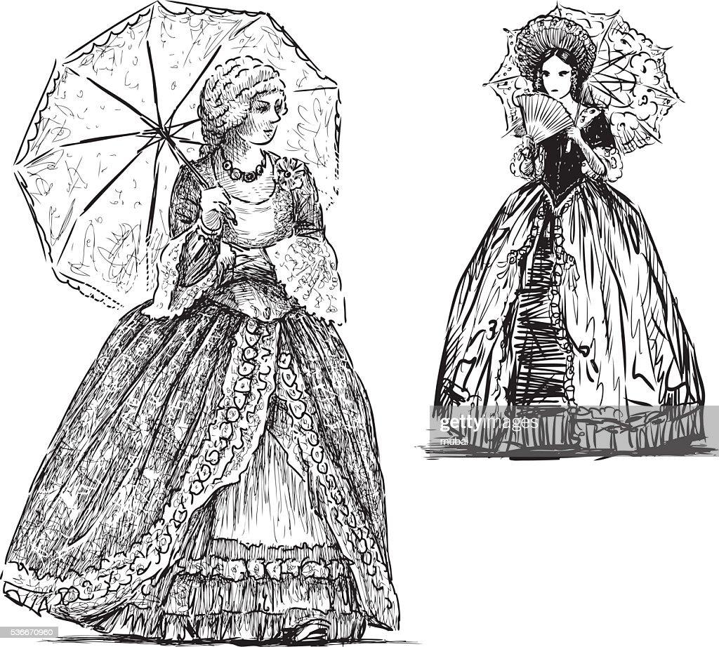 ladies with umbrellas