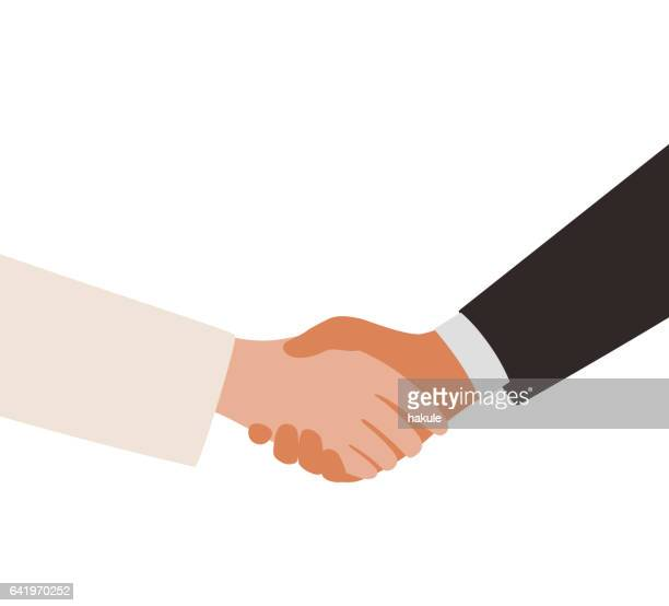 lady and man shaking hands - handshake stock illustrations, clip art, cartoons, & icons