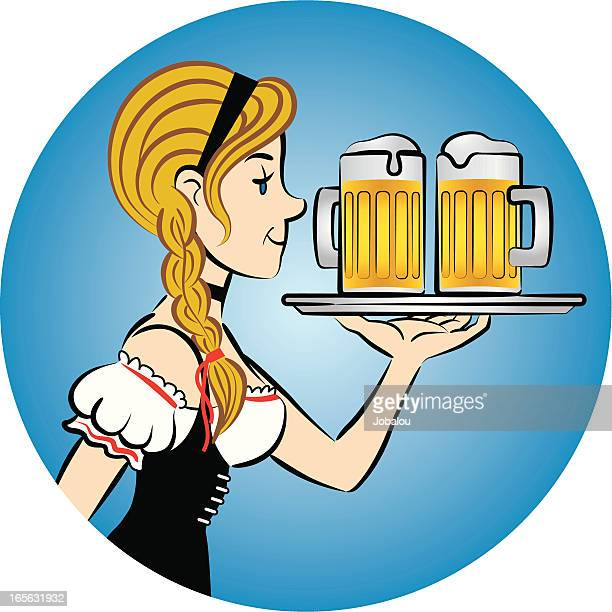 lady beer - lager stock illustrations, clip art, cartoons, & icons