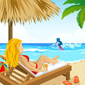 Lady Enjolying the Summer Holiday at Beach