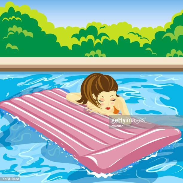 illustrations, cliparts, dessins animés et icônes de femme profitant été avec canot pneumatique dans la piscine - matelas pneumatique