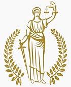 lady justice . Greek goddess Themis . .  fair trial . Law . Laurel wreath .