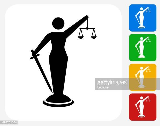 lady justice icon flat graphic design - criação digital stock illustrations